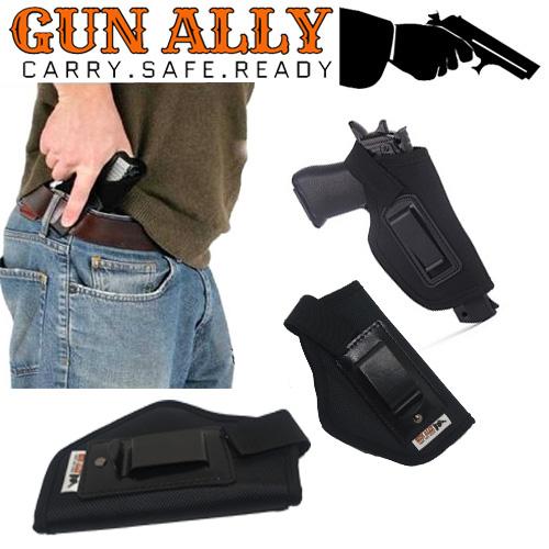 GunAlly Pistol Holster IWB Clip Pocket Side Concealed Soft Comfort Carry  Hidden Belt Holster